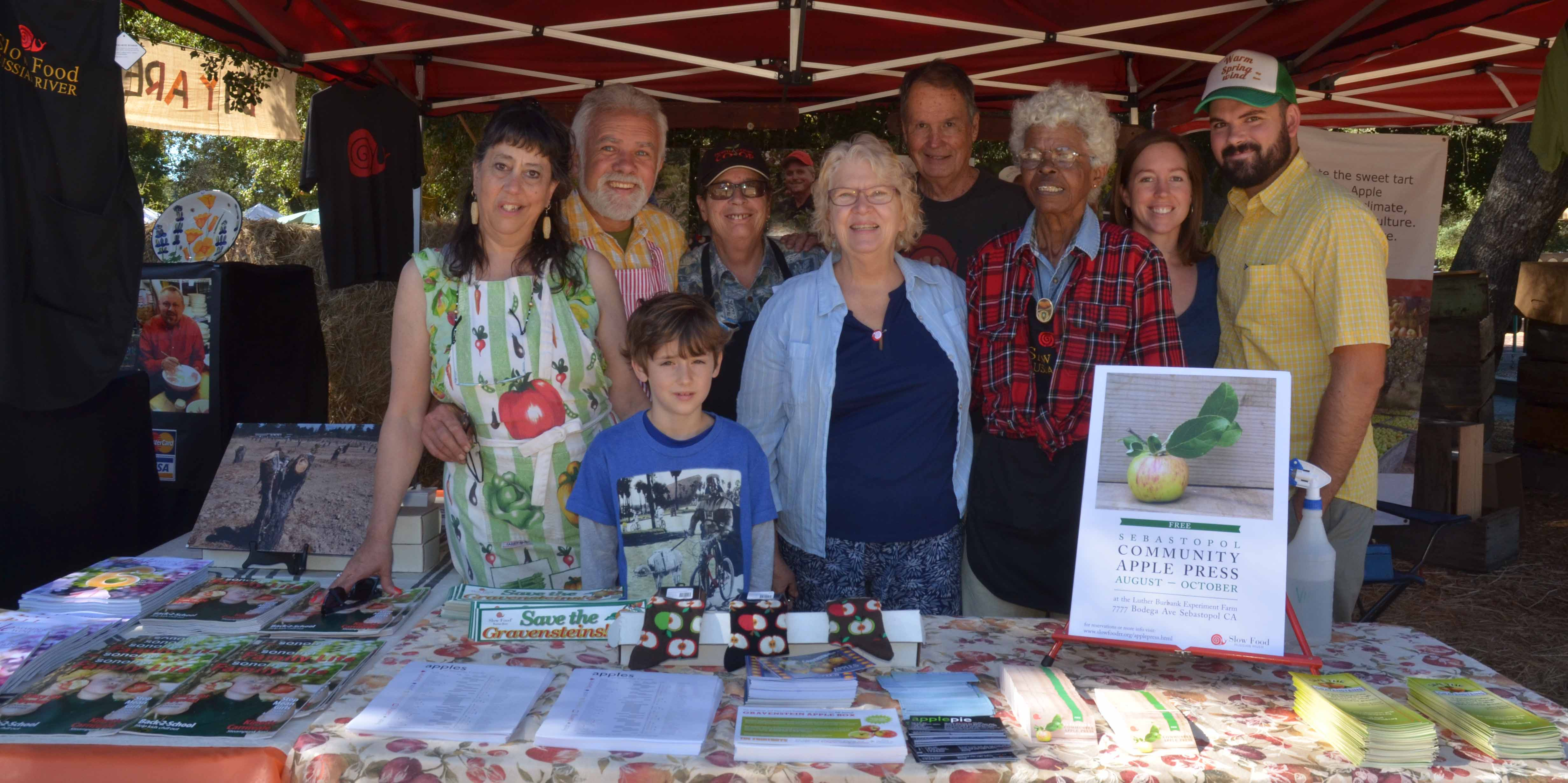Booth of the Apple Core of Slow Food Russian River at the Gravenstein Apple Fair a great success